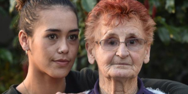 South Dunedin resident June Spooner, with granddaughter Shaquille Spooner-Nixon, wants police to bring her attacker to justice. Photo / Peter McIntosh.