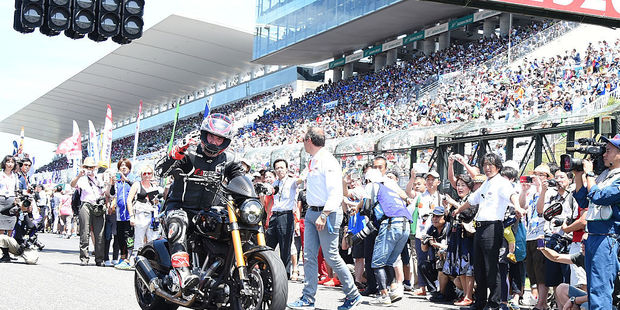 Keanu Reeves is seen during the opening ceremony of the Suzuka 8 Hours in Japan. Photo / Getty Images