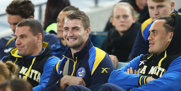 Kieran Foran watches on from the stands against the South Sydney Rabbitohs. Photo / Getty Images