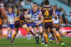 James Graham of the Bulldogs is tackled during the round 16 NRL match between the Canterbury Bulldogs and Brisbane Broncos. Photo / Getty Images