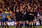 The All Blacks celebrate their Bledisloe Cup series win in 2003 at Eden Park - the start of a 13 year era of trans-Tasman dominance. Photo / Getty Images