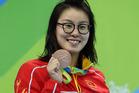 Yuanhui Fu of China after winning bronze in the women's 100m backstroke final. Photo / Getty