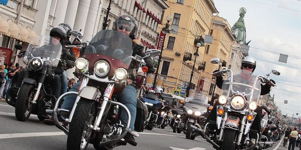 Bikers ride their Harley Davidson through Saint-Petersburg, Russia, during a festival. Photo / Getty