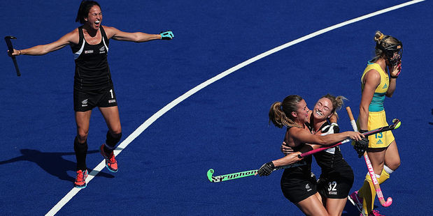 Anita McLaren of New Zealand celebrates with teammates after scoring a first half goal against Australia. Photo / Getty