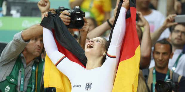 Loading Kristina Vogel of Germany celebrates after winning gold in the women's sprint. Photo / Getty