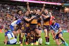 Broncos forward Sam Thaiday celebrates scoring a try during his side's 20-10 defeat of the Bulldogs. Photo / Getty Images