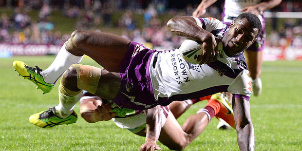 Suliasi Vunivalu of the Storm scores a try during the round 24 NRL match between the Manly Sea Eagles and the Melbourne Storm. Photo / Getty Images