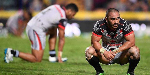 Thomas Leuluai of the Warriors looks dejected after losing the round 24 NRL match between the North Queensland Cowboys and the New Zealand Warriors. Photo / Getty Images