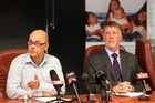 L-R: Dr Nicholas Jones, medical officer of health, Dr Kevin Snee, CE, Hawke's Bay District Health Board, HBDHB - press conference at the HBDHB re a Gastro outbreak in Havelock North in water from a Hastings District bore.