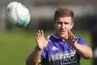 Nathan Harris of the All Blacks takes a pass during a New Zealand All Blacks training session. Photo / Getty Images.