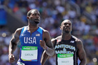 USA sprinter Justin Gatlin (left) in action at the 2016 Rio Olympics. Photo / AP