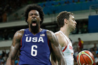 United States' DeAndre Jordan roars in celebration during USA's Olympic semi-final match against Spain. Photo / AP