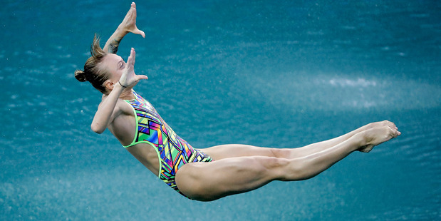 Russia's Nadezhda Bazhina competes during the women's 3-meter springboard diving preliminary round in the Maria Lenk Aquatic Center at the Rio 2016 Olympics. Photo / AP