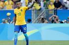 Brazil's Neymar celebrates scoring his side's 6th goal during a semi-final match of the men's Olympic football tournament between Brazil and Honduras. Photo / AP