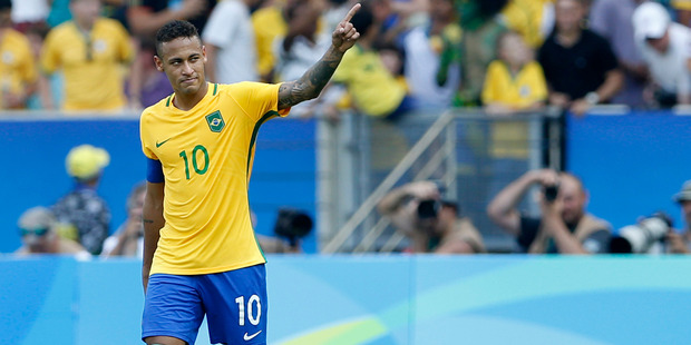Brazil's Neymar celebrates scoring his side's 6th goal during a semi-final match of the men's Olympic football tournament between Brazil and Honduras. Photo / AP