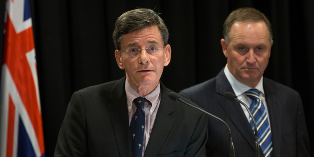 The Attorney General, Chris Finlayson, left, and Prime Minister John Key announcing changes to intelligence agencies this week. Photo Mark Mitchell
