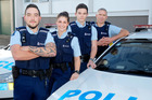 Four new recruits starting at the Whanganui Police station are Caleb Watt, Jessica Parkin, Nicholas Martell and Glen Osborne. Photo/Bevan Conley