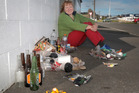 Sandie Roach collected all this rubbish on Grey Street in one hour. Monday, August 15, 2016 Wanganui Chronicle photograph by Bevan Conley.