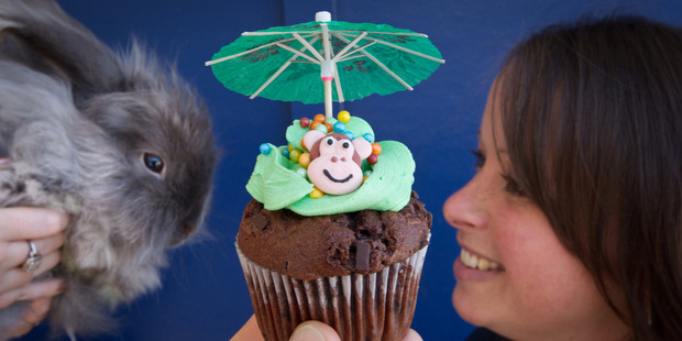Loading CUPCAKE DAY: Angus the rabbit and Rotorua SPCA office manager Nadine Brown with one of the creatively decorated cupcakes. PHOTO/STEPHEN PARKER