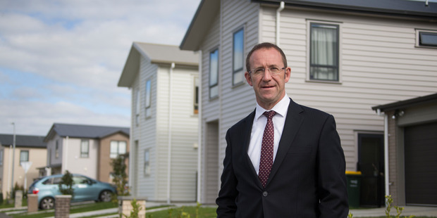 Loading Labour Leader Andrew Little at the Waimahia Inlet housing development site. Photo / Nick Reed