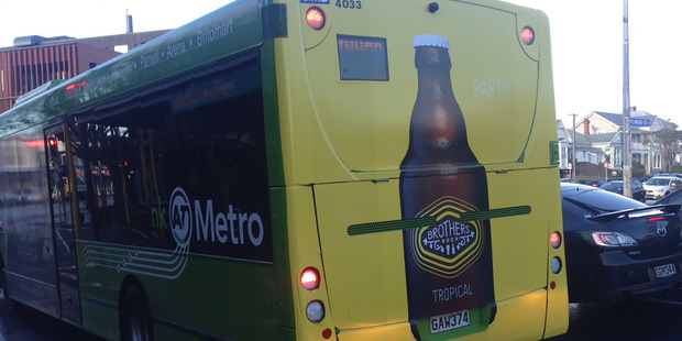 Beer advertising on an AT Metro bus. Photo / Supplied