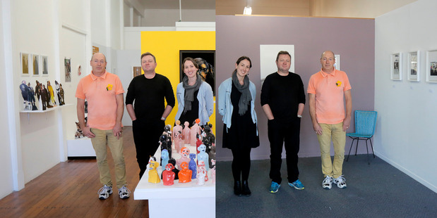 Paul and Mark Rayner and Sarah Williams with their exhibitions. PHOTO/BEVAN CONLEY