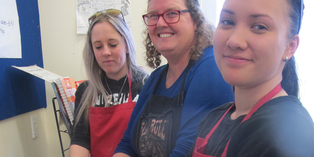 Former Rangitikei College students Libby Montgomery, left, and Deahana Rowe-Reid with teacher Raewyn Turner.