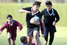 Glenholme Primary School's Lio Sagato, 10, in action at the Westbrook rugby fields today.  Photo/Ben Fraser