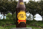A digitally altered photograph of the famous L&P bottle in Paeroa shows support for the New Zealand Blood Service campaign. PHOTO/SUPPLIED