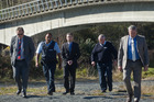 Quinton Winders (centre) at the Tram Rd bridge where George Taiaroa was shot and killed. PHOTO/STEPHEN PARKER