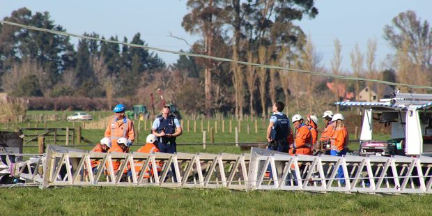 Workers were moving pylons for a roading project when a temporary one fell. Photo / Danielle Nicholson