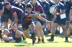 Rotorua Boys' High player Te Ra Whata gets a pass of in the match against Tauranga Boys' College. PHOTO/JOHN BORREN