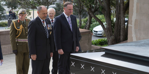 The Governor General, Sir Jerry Mateparae, and Prime Minister John Key, paying their respects at the Tomb of the Unknown Warrior. Photo / Mark Mitchell