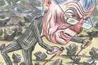 Reserve Bank governor Graeme Wheeler going in two directions at once. Illustration / Anna Crichton