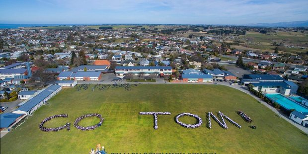 Timaru Boys High School show their support for Tom Walsh competing in the Rio Olympics. Photo / Facebook