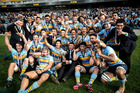 Mt Albert Grammar players celebrate after the win during the Auckland 1st XV final. Photo / Dean Purcell
