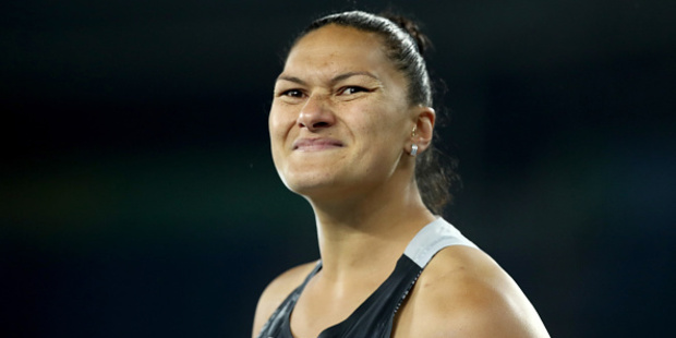 Valerie Adams of New Zealand celebrates during the Women's Shot Put Final on Day 7 of the Rio 2016 Olympic Games. Photo / Getty Images