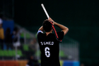 New Zealand's Simon Child, reacts after his team lost against Germany 3-2 during a men's field hockey quarterfinal match at 2016 Summer Olympics. Photo / AP.