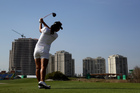 Lydia Ko, hits a shot on the 9th hole during a practice round for the women's golf event at the Olympics. Photo / AP