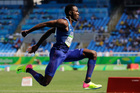 United States' Will Claye makes an attempt in the men's triple jump final. Photo / AP