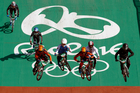 Cyclists, from right, Trent Jones of New Zealand, Niek Kimmann of the Netherlands, Tory Nyhaug of Canada and Jelle van Gorkom of the Netherlands ride their bicycles. Photo / AP.