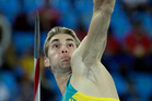 Australia's Cedric Dubler makes an attempt in the javelin throw of the decathlon during the athletics competitions of the 2016 Summer Olympics. Photo / AP.