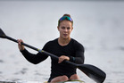 New Zealand canoe/kayak Olympic and world champion Lisa Carrington at a training session on Lake Pupuke, Takapuna, in the build up to the Rio Olympics. 5 May 2016 New Zealand Herald Photograph by Br