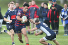 IN CHARGE: Rotorua Boys' centre Hayze Perham breaks clear against Tauranga Boys' at the Super 8 game between the two sides in June, won by Rotorua 24-18.