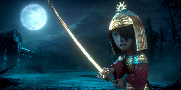 Kubo (voiced by Art Parkinson) faces off against the vengeful Moon King in Kubo and the Two Strings. Photo / LAIKA / Focus Features