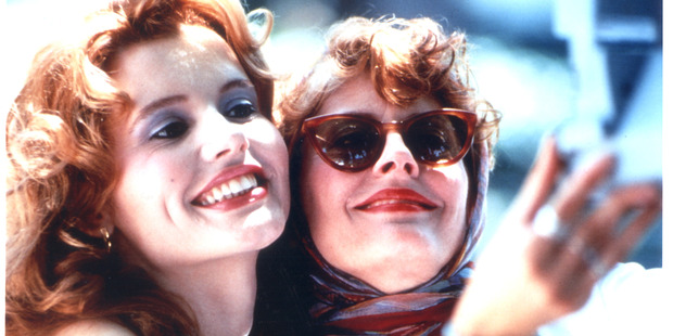 Scene from the film Thelma and Louise, staring Geena Davis and Susan Sarandon.