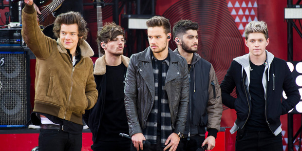 Zayn Malik with his band mates in One Direction. Photo / AP