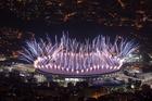 Fireworks explode over Maracana Stadium during the opening ceremony at the 2016 Summer Olympics in Rio de Janeiro, Brazil, Friday, Aug. 5, 2016. (AP Photo/Felipe Dana)