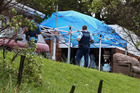Police and Environmental Science and Research staff inspect the scene of a methamphetamine lab on Taipuha Rd, south west of Whangarei. Photo / John Stone