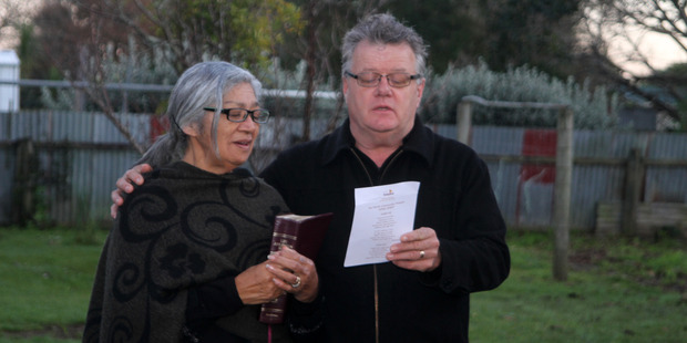 Connie and Tony Hassan leading the service before  the blessing of Far North Hospice's new premises, Awhi Mai Awhi Atu House.